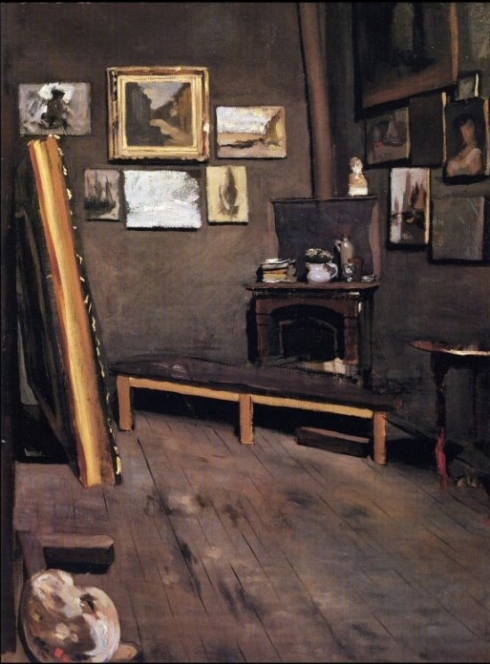 "Jean Frédéric Bazille (1841, Montpellier - 1870, Beaune-la-Rolande), ""L'Atelier di Rue Visconti"" / ""Studio of the Rue Visconti"", 1867, Olio su tela / Oil on canvas, 64 x 49 cm, Virginia Museum of Fine Arts, Richmond, Virginia"