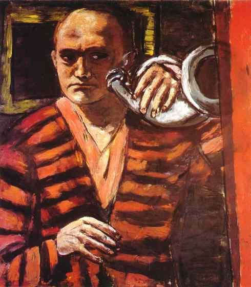 "Max Beckmann (1884, Leipzig - 1950, Manhattan), ""Autoritratto con un corno"" / ""'Self-portrait with Horn"", 1938, Olio su tela / Oil on canvas, 43 1/4 x 39 3/4 in, Collection Dr. and Mrs. Stephan Lackner, Santa Barbara, California"