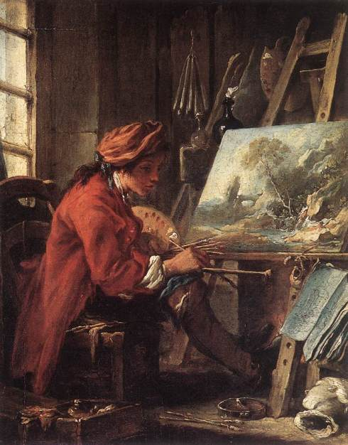 "çois Boucher (1703, Paris - 1770, Paris), ""Il Pittore nel suo Studio"" / ""Painter in his Studio"", 1753, Olio su tavola / Oil on wood, 27 x 22 cm, Musée du Louvre, Paris"