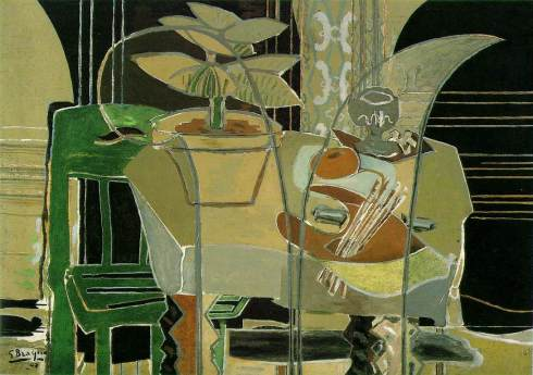 "Georges Braque (1882, Argenteuil - 1963, Paris), ""Interno con tavolozza"" / ""Interior with Palette"", 1942, Olio su tela / Oil on canvas, 141.3 x 195.6 cm, The Menil Collection, Houston, Texas"