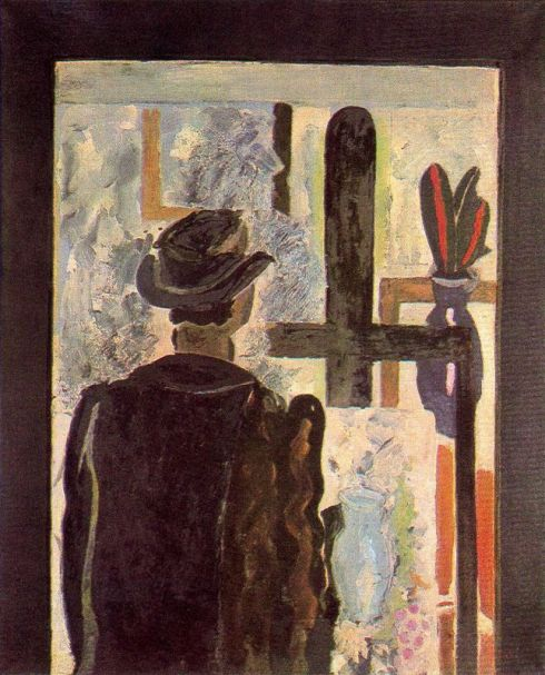 "Georges Braque (1882, Argenteuil - 1963, Paris), ""Uomo al cavalletto"" / ""Man at the easel"", 1942, Olio su carta telata / Oil on paper canvas, 100 x 81 cm, The Quentin Laurens Collection, Kildeer, Illinois"