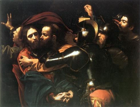 """Caravaggio (Michelangelo Merisi, 1571, Milano - 1610, Porto Ercole), """"La cattura di Cristo nell'orto"""" / """"Taking of Christ in the garden"""", ca. 1598, Olio su tela / Oil on canvas, 134 x 170 cm, National Gallery of Ireland, Dublin"""