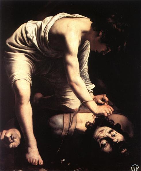 """Caravaggio (Michelangelo Merisi, 1571, Milano - 1610, Porto Ercole), """"Davide"""" / """"David"""", 1600, Olio su tela / Oil on canvas, 110 x 91 cm, Oil on canvas, Museo del Prado, Madrid"""