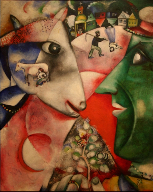 "Marc Chagall (Moishe Segal, 1887, Vitebsk - 1985, Saint-Paul de Vence), ""Io e il mio paese"" / ""I and the Village"", 1911, Olio su tela / Oil on canvas, 191 x 150 cm, The Museum of Modern Art, New York"