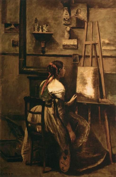 """Jean-Baptiste Camille Corot (1796, Paris - 1875, Paris), """"Lo Studio Corot"""" / """"Corot's Studio"""", ca. 1873, Olio su tela / Oil on canvas, 63 x 42 cm, Musée du Louvre, Paris"""