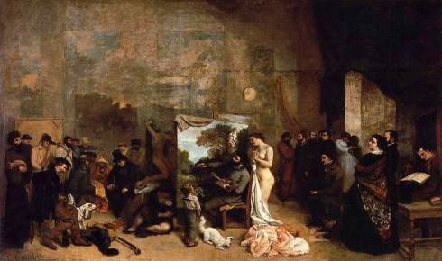 "Jean-Désiré-Gustave Courbet (1819, Ornans - 1877, La Tour-de-Peilz), ""Lo Studio del Pittore"" / ""The Studio of the Painter"", 1855, Olio su tela / Oil on canvas, 359 x 598 cm, Musée d'Orsay, Paris"