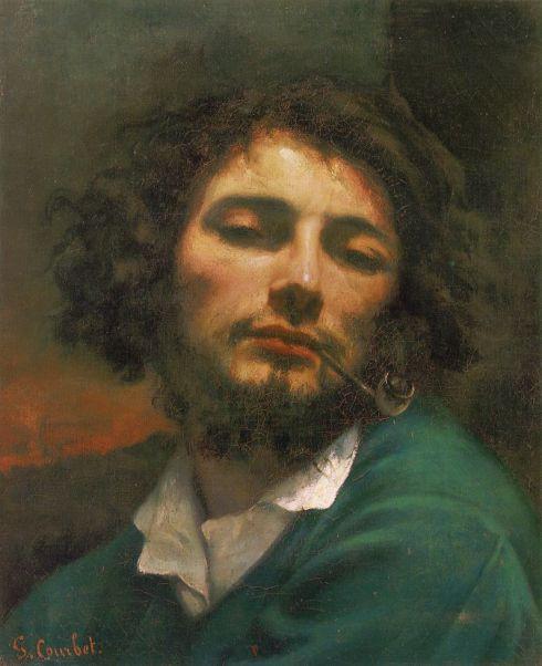 "Jean-Désiré-Gustave Courbet (1819, Ornans - 1877, La Tour-de-Peilz), ""Uomo con la pipa. Autoritratto"" / ""Man with a pipe, Self-Portrait"", 1848-49, Olio su tela / Oil on canvas, 45 x 37 cm, Musée Fabre, Montpellier"