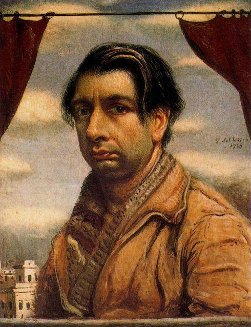 """Giorgio de Chirico (Volos, 1888 - 1978, Roma), """"Autoritratto"""" / """"Self Portrait"""", 1925, Olio su cartone / Oil on cardboard, 62.5 x 46 cm, Galleria Nazionale d´Arte Moderna, Roma"""