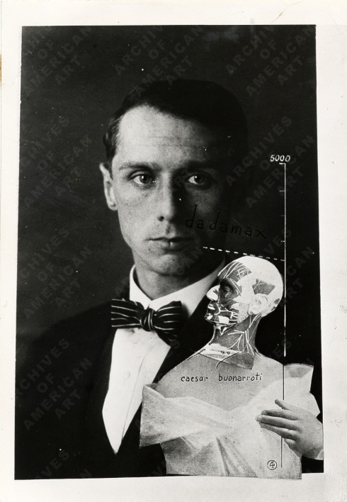 "Max Ernst (1891, Brühl - 1976, Paris), ""The Punching Ball or the Immortality of Buonarroti"", 1920, Photomontage, gouache, and ink on photograph, b&w, 12 x 8 cm, Collection of Tristan Tzara, Paris"