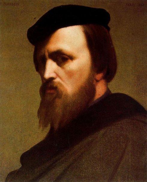 """Jean Hippolyte Flandrin (1809, Lione - 1864, Roma) """"Autoritratto"""" / """"Self Portrait"""",1853, Olio su tela / Oil on canvas, 44 x 36 cm, Corridoio del Vasari, Galleria degli Uffizi, Firenze"""