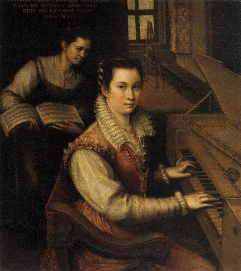 "Lavinia Fontana (1552, Bologna - 1614, Roma), ""Autoritratto alla Spinetta"" / ""Self-Portrait at the Spinet"", 1577, Olio su tela / Oil on canvas, 27 x 24 cm, Accademia di San Luca, Roma"