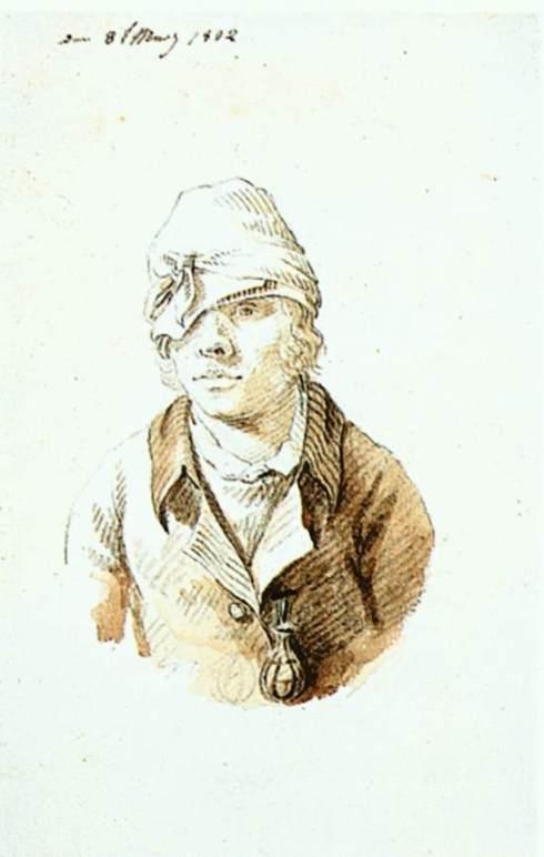 """Caspar David Friedrich (1774, Greifswald - 1840, Dresden), """"Autoritratto con cappuccio e visiera"""" / """"Self-portrait with cap and visor"""", 1802, Matita, pennello ed inchiostro / Pencil, brush and ink, 17.5 x 10.5 cm, Kunsthalle, Hamburg"""