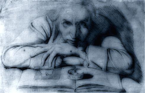 "John Henry Fuseli (Johann Heinrich Füssli, 1741, Zürich - 1825, London), ""Autoritratto"" / ""Self-Portrait"", 1777, Carboncino e gessetto bianco su carta / Charcoal and white chalk on paper, 35 x 50,1 cm, National Gallery, Department of Prints and Drawings, London"