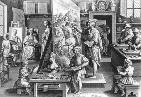 "Philip Galle (1537, Haarlem - 1612, Antwerpen), ""Bottega del pittore"" / ""A Painter's Workshop"", ca. 1595, Incisione / Engraving, Rijksprentenkabinet, Amsterdam"