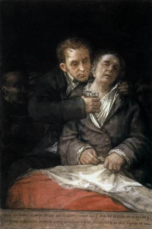 """Francisco de Goya y Lucientes (1746, Fuendetodos - 1828, Bordeaux), """"Autoritratto con il Dottor Arrieta"""" / """"Self-Portrait with Doctor Arrieta"""", 1820, Olio su tela / Oil on canvas, 117 x 79 cm, Institute of Arts, Minneapolis"""