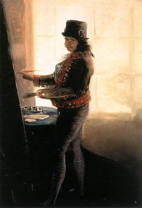 "Francisco de Goya y Lucientes (1746, Fuendetodos - 1828, Bordeaux), ""Autoritratto nella bottega"" / ""Self-Portrait in the Workshop"", 1790-95, Olio su tela / Oil on canvas, 42 x 28 cm, Museo de la Real Academia de San Fernando, Madrid"