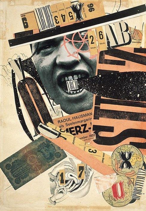 """Raoul Hausmann (1886, Weil - 1971, Limouges), """"ABCD"""""""", 1923-1924, Encre de Chine, reproduction de photographie et imprimés découpés, collés sur papier, 40.4 x 28.2, Centre Pompidou-Musée National d'Art Moderne, Paris"""