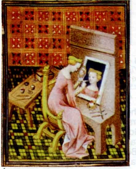 "Ignoto / Unknown (XIV-XV secolo / Fourtheenth-Fiftheenth Century), ""Marcia pittrice"" / ""Paintress Marcia"", 1402, Miniatura dal / Miniatures from ""De claribus muliebris"" di / by Giovanni Boccaccio, Biblioteca Nazionale / National Library, Paris"
