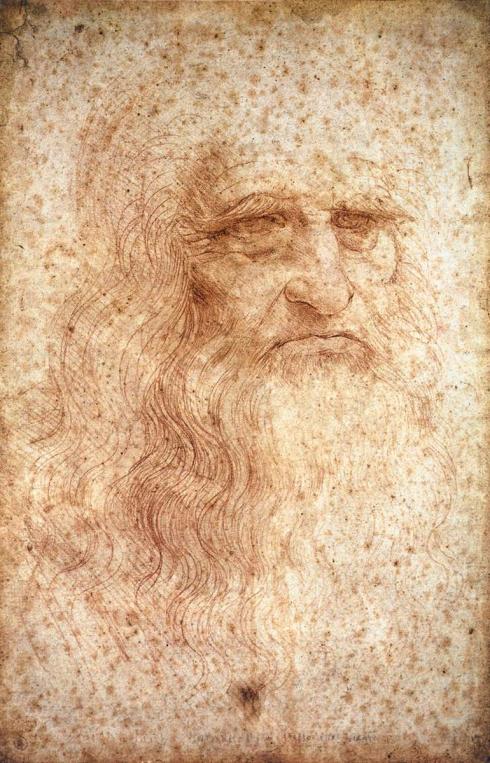 """Leonardo da Vinci (1452, Vinci - 1519, Cloux, presso / near Amboise), """"Autoritratto"""" / """"Self Portrait"""", ca. 1512, Gessetto rosso su carta / Red chalk on paper, 33.3 x 21.3 cm, Biblioteca Reale, Torino"""