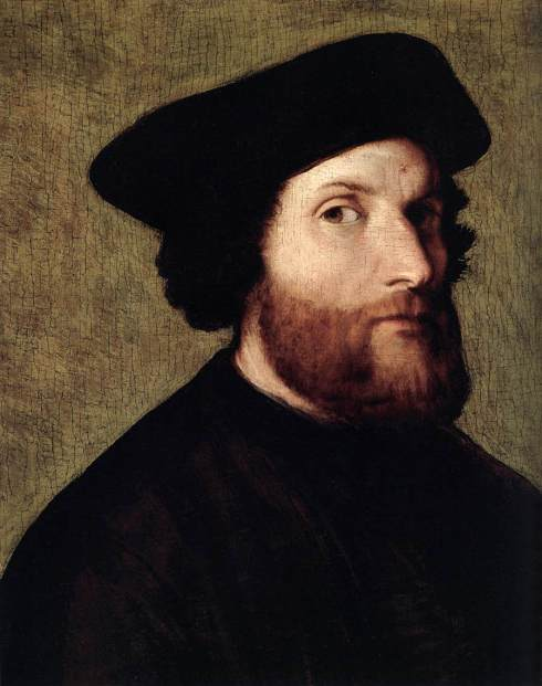 "Lorenzo Lotto (1480, Venezia - 1556, Loreto), ""Autoritratto"" / ""Self-Portrait"", anni 1540 / 1540s, Olio su pannello / Oil on panel, 43 x 35 cm, Museo Thyssen-Bornemisza, Madrid"