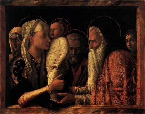 """Andrea Mantegna (1431, Isola di Cartura - 1506, Mantova), """"Presentazione al Tempio"""" / """"Presentation at the Temple"""", ca. 1460, Tempera su tavola / Tempera on wood, 67 x 86 cm, Staatliche Museen, Berlin"""