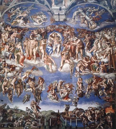 """Michelangelo (Michelangelo Buonarroti, 1475, Caprese, d. 1564, Roma), """"Il Giudizio Universale"""" / """"The Last Judgement"""", 1537-41, Affresco / Fresco, 1541, 1370 x 1220 cm, Cappella Sistina, Vaticano, Roma"""