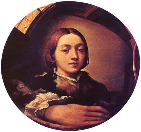 "Parmigianino (Girolamo Francesco Maria Mazzola, 1503, Parma - 1540, Casal Maggiore), ""Autoritratto in uno specchio convesso"" / ""Self-portrait in a Convex Mirror"", ca. 1524. Olio su tavola / Oil on wood, diameter 24,4 cm, Kunsthistorisches Museum, Vienna"