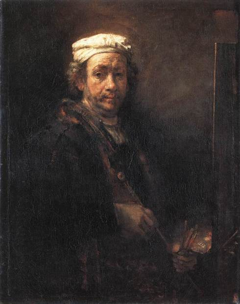 "Rembrandt Harmenszoon van Rijn (1606, Leiden - 1669, Amsterdam), ""Autoritratto dell'Artista al cavalletto"" / ""Self Portrait of the Artist at His Easel"", 1660, Olio su tela / Oil on canvas, 111 x 90 cm, Musée du Louvre, Paris"