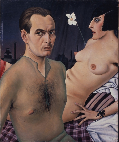 "Christian Schad (1894, Miesbach - 1982, Keilberg), ""Autoritratto"" / ""Self-Portrait"", 1927, Olio su tavola / Oil on wood, 76 x 61.5 cm, Collezione privata / Private Collection"
