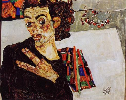 "Egon Schiele (1890, Tulln - 1918, Vienna), ""Autoritratto con vaso nero e le dita tese"" / ""Self Portrait with Black Vase and Spread Fingers"", 1911, Olio su pannello / Oil on panel, 27.5 x 34 cm, Collezione privata / Private Collection"