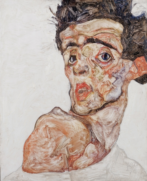 "Egon Schiele (1890, Tulln - 1918, Vienna), ""Autoritratto con la spalla nuda alzata"" / ""Self-portrait with naked shoulder pulled up"", 1912, Olio su tavola / Oil on wood, 42.2 x 33.9 cm, Leopold Collection, Vienna"