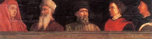 """Paolo Uccello (Paolo di Dono, 1397, Firenze - 1475, Firenze), """"Cinque Maestri del Rinascimento Fiorentino"""" / """"Five Masters of the Florentine Renaissance"""", ca. 1450, Tempera su tavola / Tempera on wood, 43 x 210 cm, Musée du Louvre, Paris"""