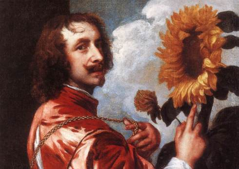 "Sir Anthony van Dyck (1599, Antwerpen - 1641, London), ""Autoritratto con un Girasole"" / ""Self-Portrait with a Sunflower"", ca. 1632, Olio su tela / Oil on canvas, 60 x 73 cm, Collezione privata / Private Collection"