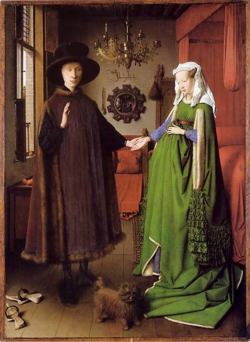 "Jan van Eyck (prima del / before 1395, Maaseik - 1441, Bruges), ""Portrait of Giovanni Arnolfini and his Wife"" / ""Portrait of Giovanni Arnolfini and his Wife"", 1433, Olio su tavola di quercia / Oil on oak, 82 x 60 cm, National Gallery, London"