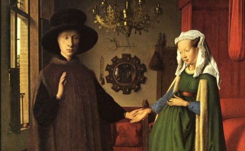 "Jan van Eyck, Autoritratto in uno specchio / Self-Portrait in a looking glass, in ""Ritratto di Giovanni Arnolfini con la moglie"" / ""Portrait of Giovanni Arnolfini and his Wife"""