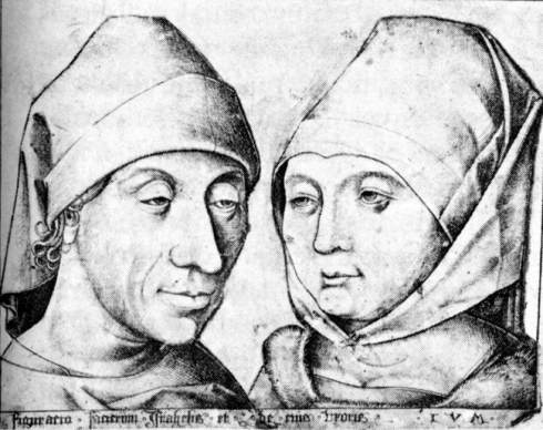 "Israhel van Meckenem il Giovane / the Younger (1440/45, Meckenheim - 1503, Bocholt), ""L'Artista con la moglie Ida"" / ""The Artist and his Wife Ida"", ca. 1490, Incisione su rame / Copper engraving, 14.2 x 17.5 cm, Staatliche Museen, Berlin"