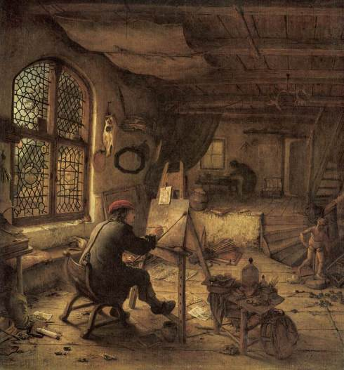 "Adriaen Jansz van Ostade (1610, Haarlem - 1685, Haarlem), ""Il Pittore nella sua bottega"" / ""The Artist in his Workshop"", 1663, Olio su tavola di quercia / Oil on oak, 38 x 35,5 cm, Gemäldegalerie, Dresden"