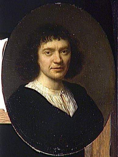 "Pieter Cornelisz van Slingelandt (1625, Leyden -1691, Leyden), ""Autoritratto"" / ""Self Portrait"", 1666, Ovale, Olio / Oval, Oil, Musée du Louvre, Paris"