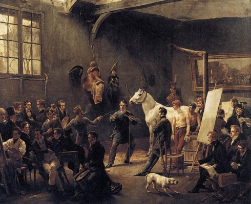 "Émile Jean Horace Vernet (1789, Paris - 1863, Paris), ""Lo Studio dell'Artista"" / ""The Artist's Studio"", ca. 1820, Olio su tela / Oil on canvas, 52 x 64 cm, Collezione privata / Private Collection"