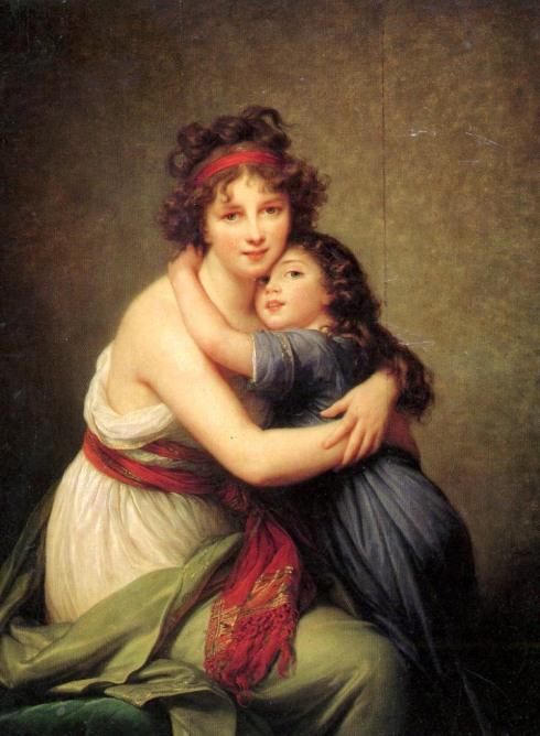 """Marie-Louise-Élisabeth Vigée-Lebrun (1755, Paris - 1842, Paris), """"Autoritratto con la figlia Julie"""" / """"Self-Portrait with Her Daughter, Julie"""", ca. 1789, Olio su tela / Oil on canvas, 130 x 94 cm, Musée du Louvre, Paris"""