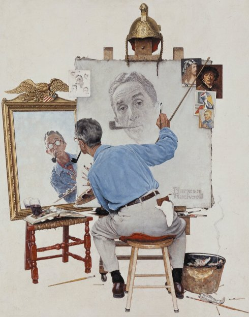 "Norman Rockwell (1894, New York - 1978, Stockbridge),""Triplo Autoritratto"" / ""Triple Self-Portrait"", 1960, copertina del Saturday Evening Post (Feb. 13) / for the Feb. 13 cover of the Saturday Evening Post"