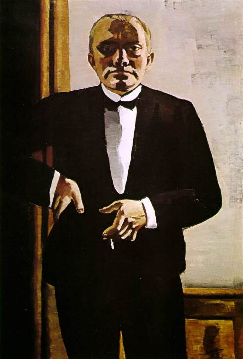 "Max Beckmann (1884, Leipzig - 1950, Manhattan), ""Autoritratto in smoking"" / ""'Self-portrait in Tuxedo"", 1927, Olio su tela / Oil on canvas, 138.4 x 95.9 cm, Busch-Reisinger Museum, Harvard University, Cambridge, Mass."