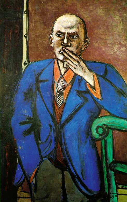 "Max Beckmann (1884, Leipzig - 1950, Manhattan), ""Autoritratto in giacca blu"" / ""Self-portrait in Blue Jacket"", 1950, Olio su tela / Oil on canvas, 140 x 91.4 cm, St. Louis Art Museum, St. Louis"