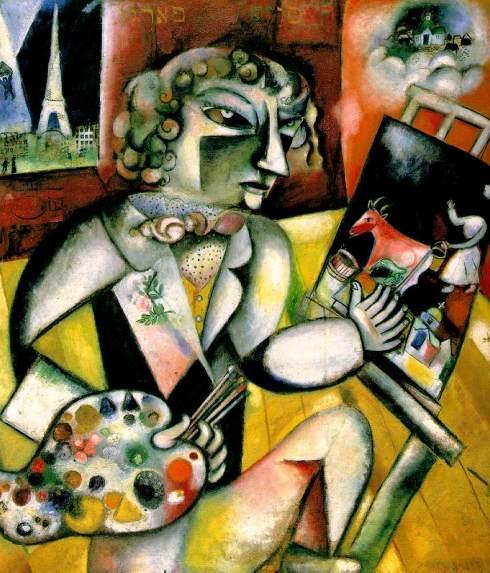 """Marc Chagall (Moishe Segal, 1887, Vitebsk - 1985, Saint-Paul de Vence), """"Autoritratto con sette dita"""" / """"Self-Portrait with Seven Fingers"""", 1913-1914 ca., Olio su tela / Oil on canvas, 128 x 107 cm, Stedelijk Museum, Amsterdam"""