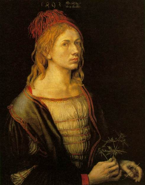 "Albrecht Dürer (1471, Nürnberg - 1528, Nürnberg), ""Autoritratto a 22 anni"" / ""Self-Portrait at 22"", 1500, Olio su tela trasferito da pergamena / Oil on linen, transferred from vellum, 57 x 45 cm, Musée du Louvre, Paris"