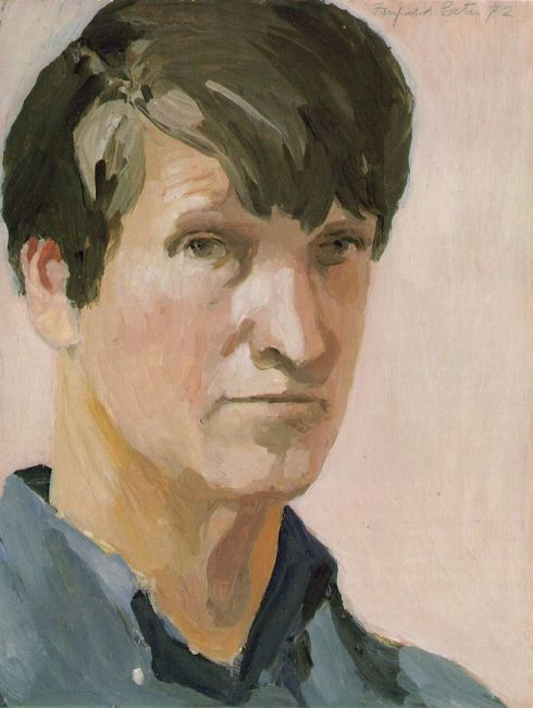 "Fairfield Porter (1907, Winnetka - 1975, New York), ""Autoritratto"" / ""Self-Portrait"", 1972, Olio su Masonite / Oil on Masonite, 36.1 x 27.6 cm, Parrish Art Museum, Southampton, New York"