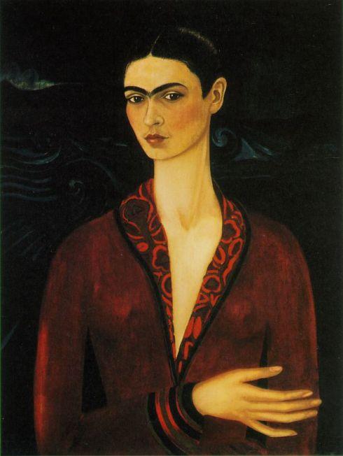 """Frida Kahlo (1907, Coyoacán - 1954, Coyoacán), """"Autoritratto in abito viola"""" / """"Self Portrait in a Velvet Dress"""", 1926, Olio su tela / Oil on canvas, 79,7 x 60 cm, Collezione Alejandro Gómez Arias / Alejandro Gómez Arias Collection, Mexico City"""