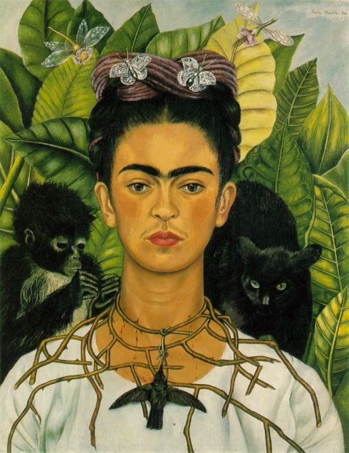 "Frida Kahlo (1907, Coyoacán - 1954, Coyoacán), ""Autoritratto"" / ""Self Portrait"", 1940, Olio su tela / Oil on canvas, 62.2 x 47.6 cm, Harry Ransom Humanities Research Center, Austin"