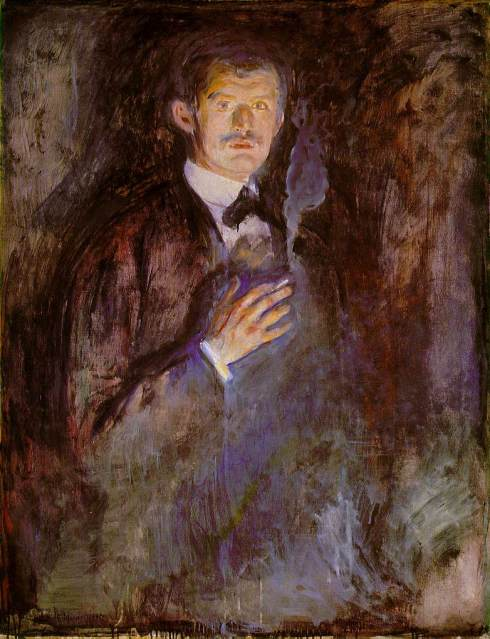 "Edvard Munch (1863, Løten - 1944, Ekely), ""Autoritratto con la sigaretta"" / ""Self-Portrait with Burning Cigarette"", 1895, Olio su tela / Oil on canvas, 110.5 x 85.5 cm, National Gallery, Oslo"