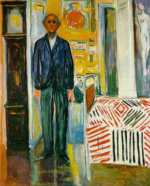 "Edvard Munch (1863, Løten - 1944, Ekely), ""Autoritratto fra la pendola ed il letto"" / ""Self-Portrait Between Clock and Bed"", 1940/42, Olio su tela / Oil on canvas, 149.5 x 120.5 cm, The Munch Museum, Oslo"